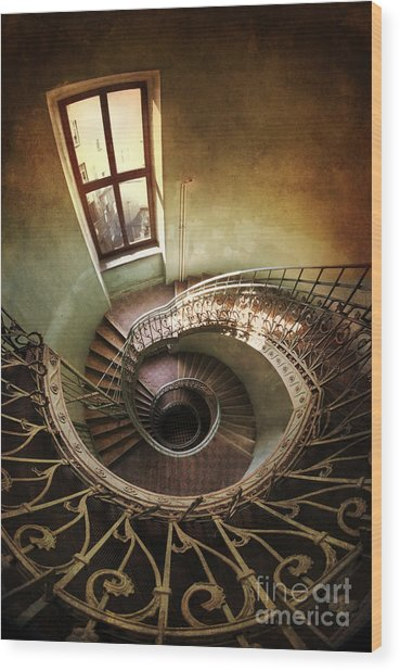 Spiral Staircaise With A Window Wood Print