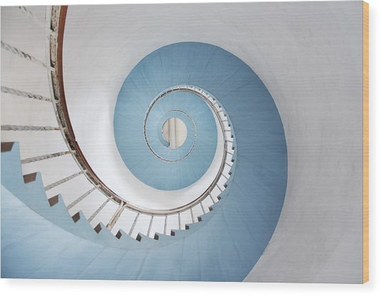 Spiral Staircase Wood Print by Acilo