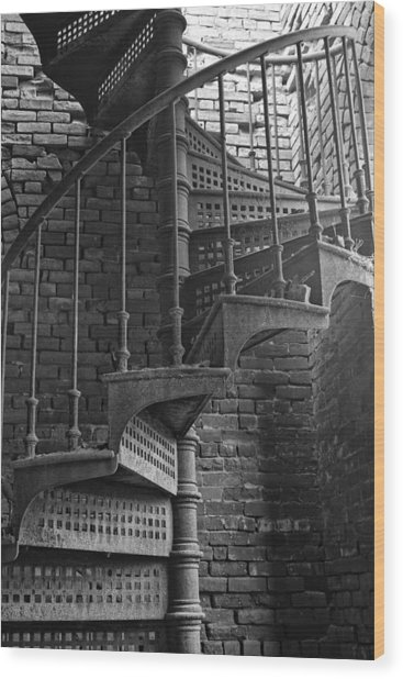 Spiral Staircase In B And W Wood Print