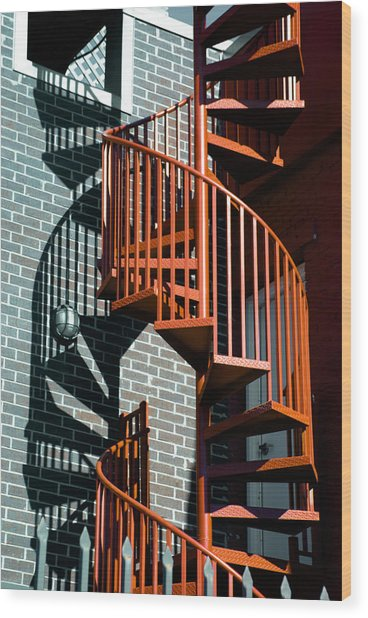 Spiral Stairs - Color Wood Print
