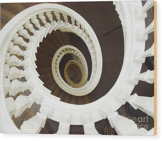 Spiral Stairs From Above Wood Print