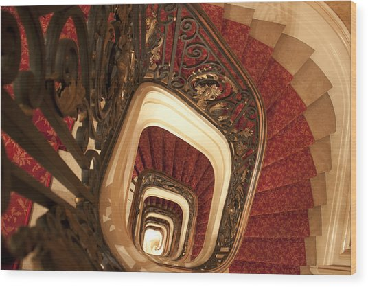 Spiral Stairs Wood Print
