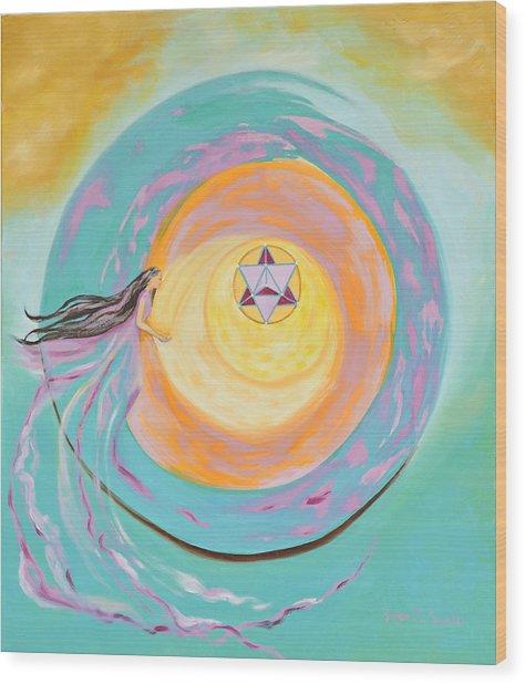 Spiral Toward The Light Wood Print by Joyce Small