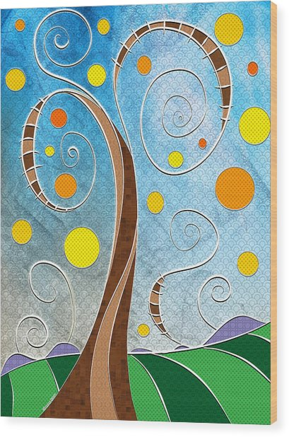 Spiralscape Wood Print
