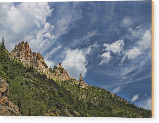 Spires And Sky Wood Print by Gregory Scott