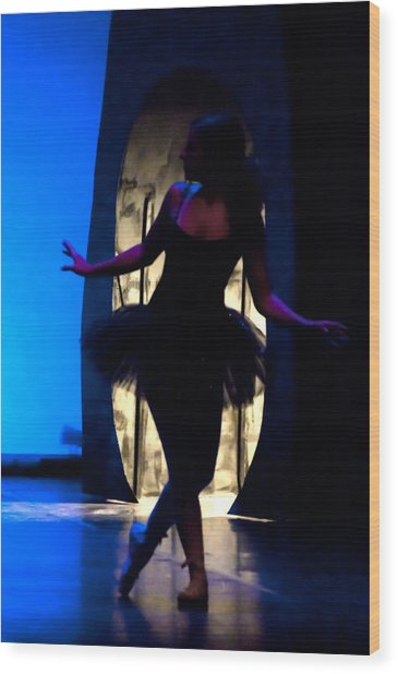 Spirit Of Dance 3 - A Backlighting Of A Ballet Dancer Wood Print