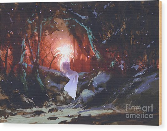Spirit Of The Enchanted Forest,woman In Wood Print