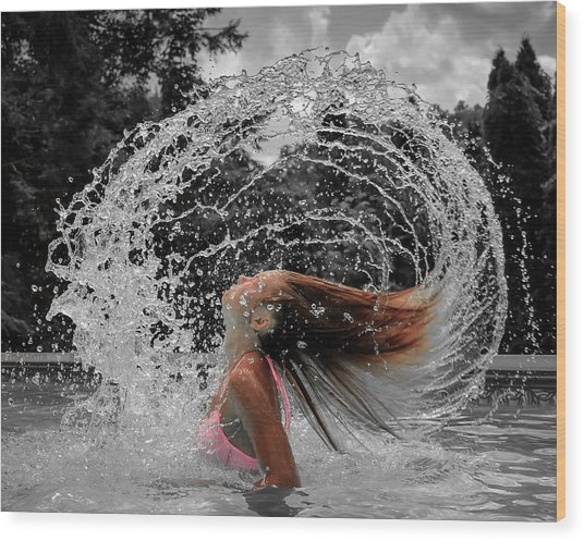 Hair Flip Splash Wood Print