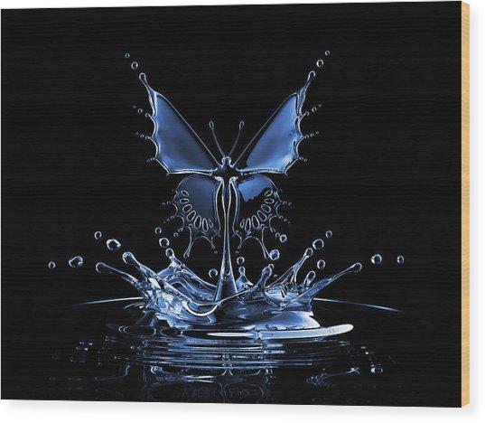 Splash Of Water Butterfly Wood Print by Blackjack3d