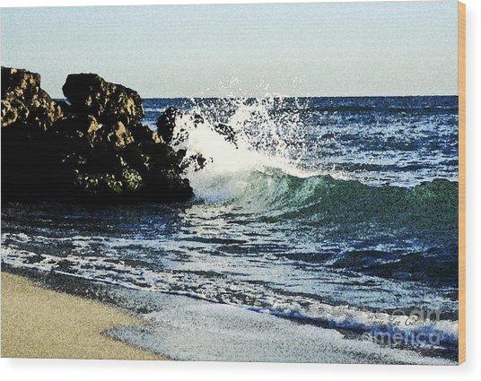 Splashing Wave Wood Print