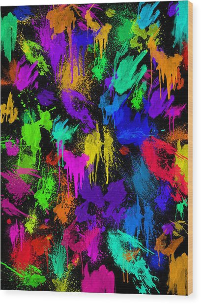 Splattered One Wood Print