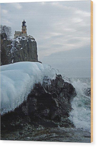 Split Rock Lighthouse Winter Wood Print