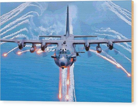 Spooky Gunship In Action Wood Print