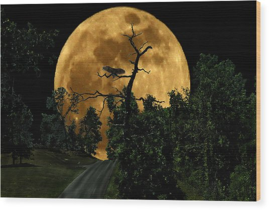 Spooky Road Wood Print