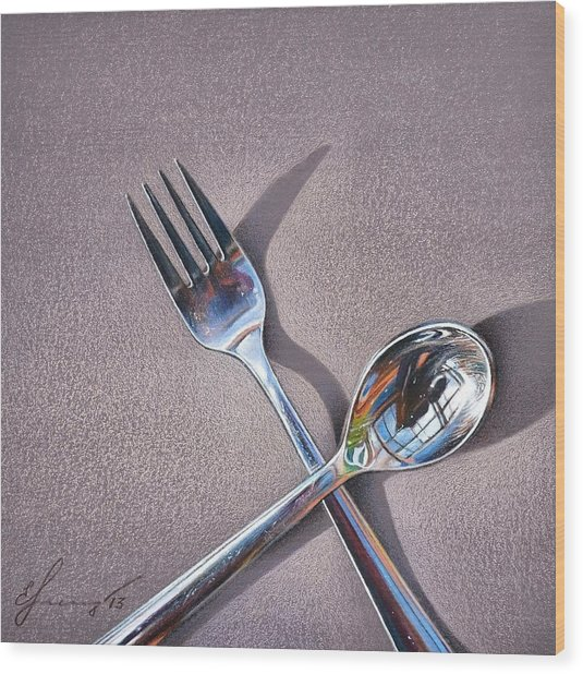 Spoon And Fork 2 Wood Print