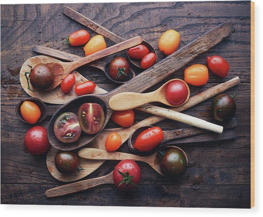 Spoons&tomatoes Wood Print by Aleksandrova Karina