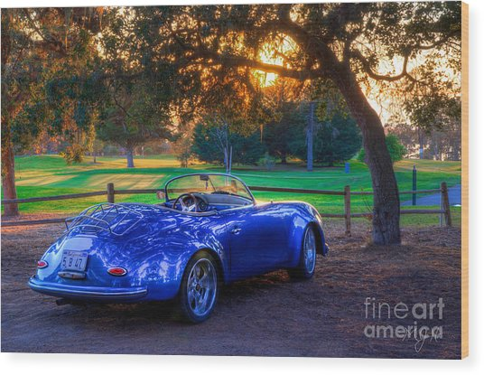 Sports Car Golf Course Sunset Wood Print