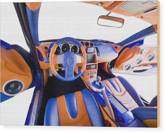 Sports Car Interior Wood Print by Ioan Panaite