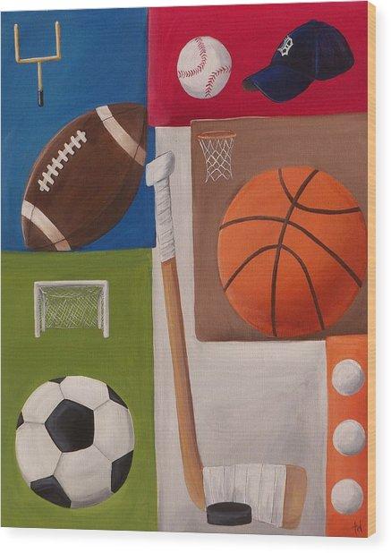 Sports Collage Wood Print by Tracie Davis