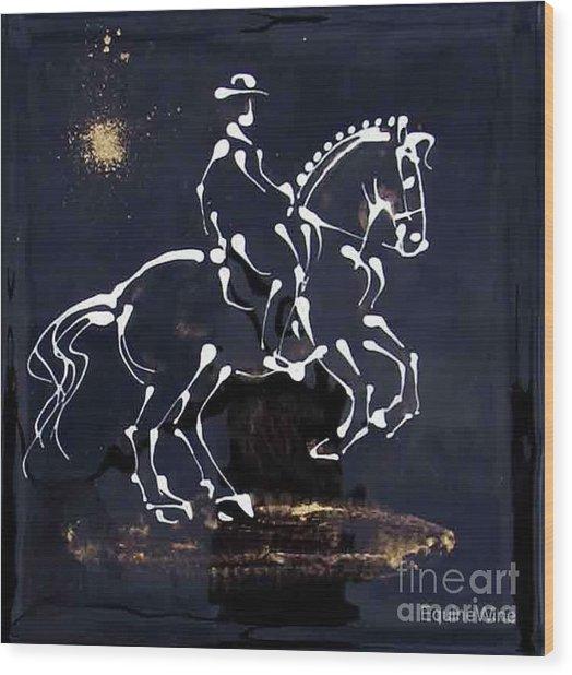 Spotlight Lusitano Wood Print by Diane Schell