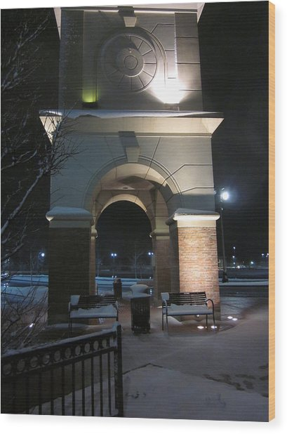 Spotlight On A Mall Tower Wood Print by Guy Ricketts