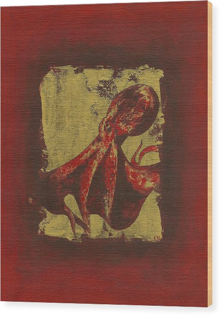 Spotted Red Octopus Wood Print