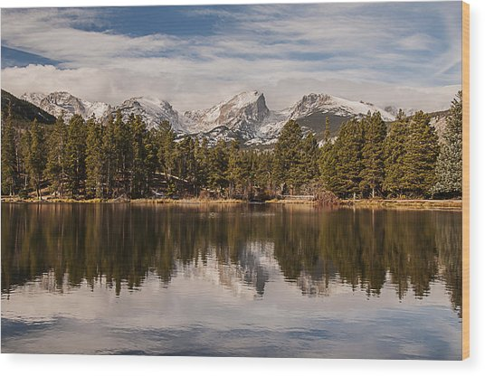Sprague Lake Reflection In The Morning Wood Print