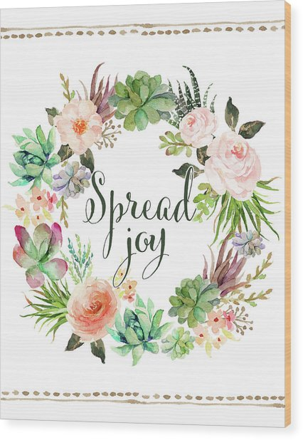 Spread Joy Wreath Wood Print