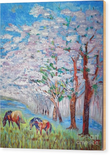 Spring And Horses 2 Wood Print