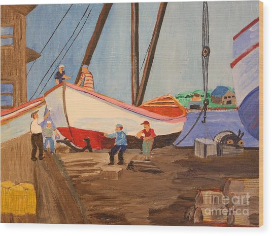 Spring At The Harbor - Tysver's Wharf 1935 Wood Print