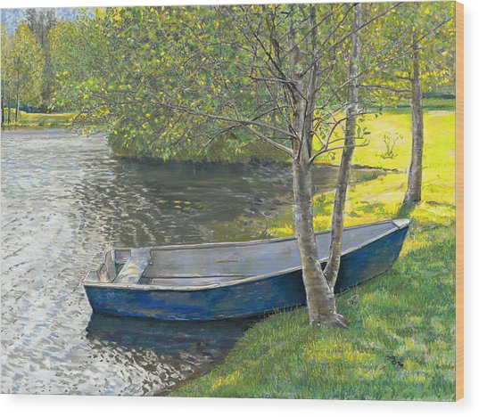 The Blue Rowboat Wood Print