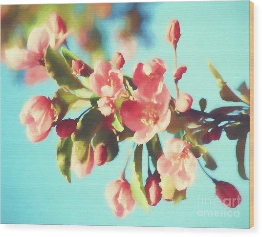 Spring Blossoms In Digital Watercolor Wood Print