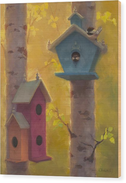 Spring Chickadees 2 - Birdhouse And Birch Forest Wood Print