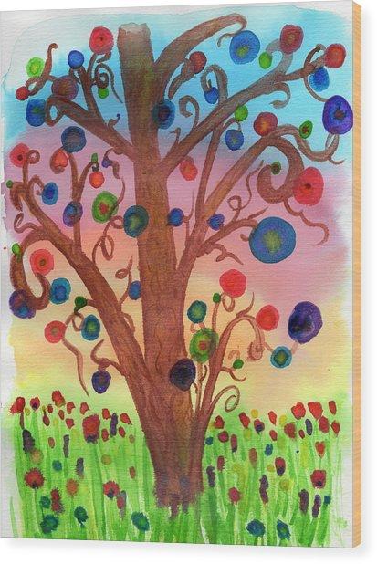 Spring Circles Wood Print