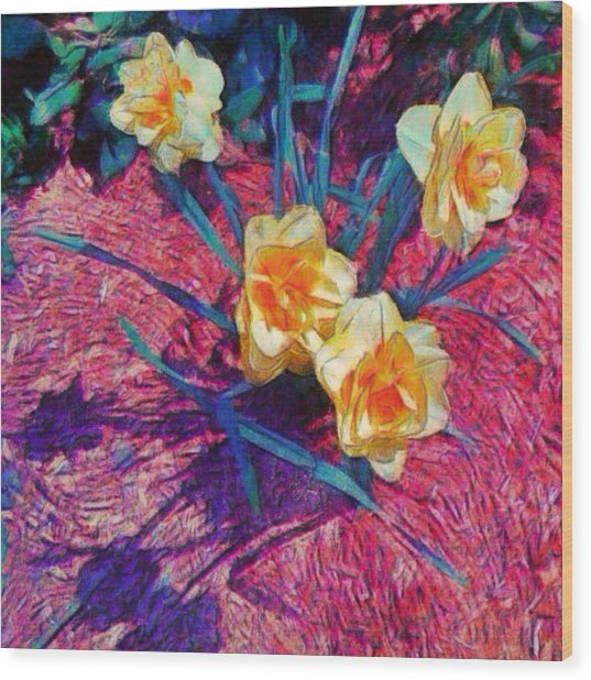 Spring Daffodils On Red - Square Wood Print