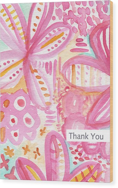 Spring Flowers Thank You Card Wood Print