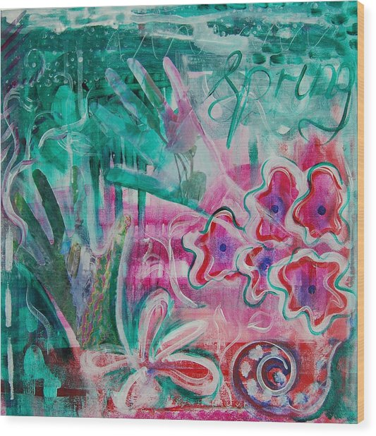 Wood Print featuring the painting Spring by Jocelyn Friis