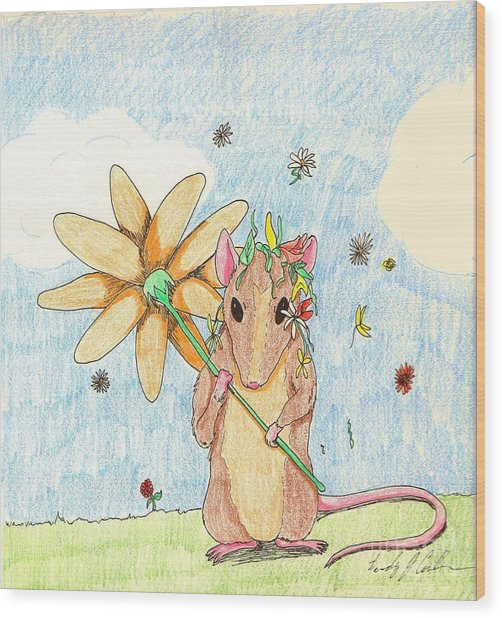 Spring Mouse Wood Print