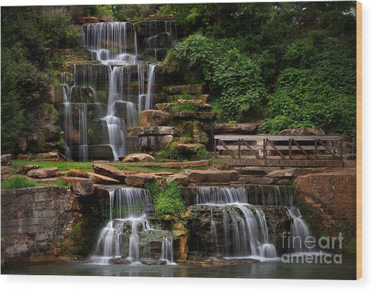 Wood Print featuring the photograph Spring Park Falls by T Lowry Wilson