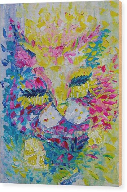 Spring Pink Cat Wood Print