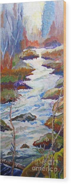 Spring River Rushing Wood Print by Frank Giordano