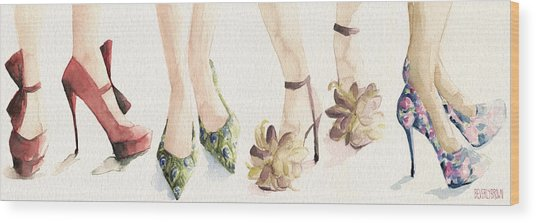 Spring Shoes Watercolor Fashion Illustration Art Print Wood Print