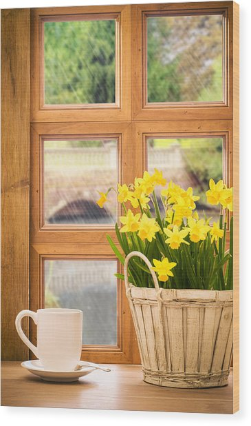 Spring Showers Wood Print