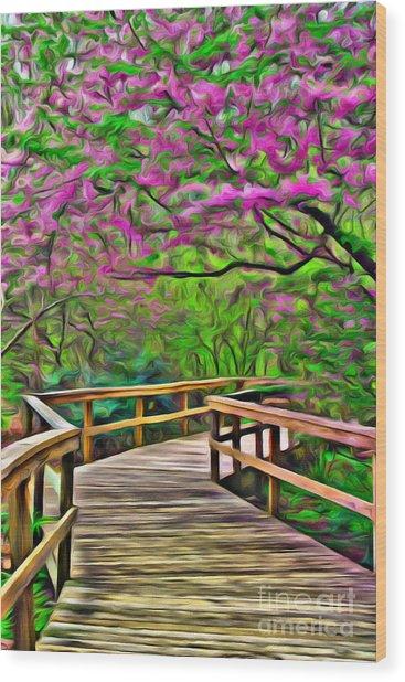 Spring Walk - Paint Rendering Wood Print