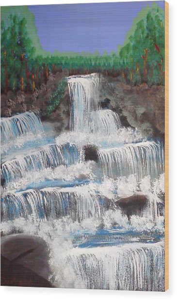 Spring Waterfall Wood Print
