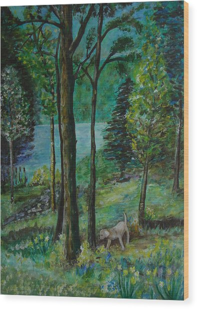Spring Woodland With Dog - Painting Wood Print