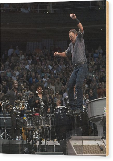 Springsteen In Motion Wood Print