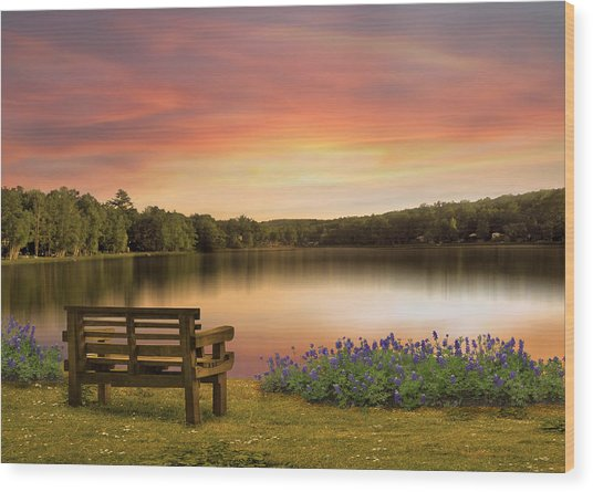 Springtime At The Lake Wood Print