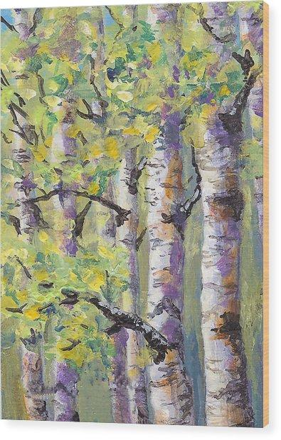 Springtime Birches Wood Print