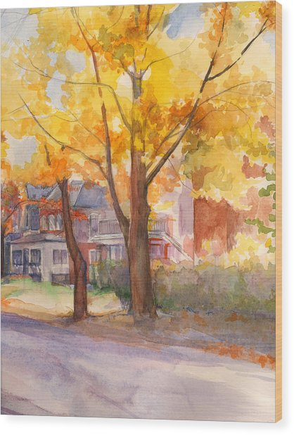 Spruce Street Maples Wood Print